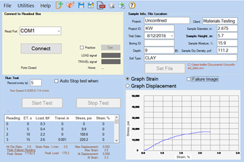 Unconfined Compressive Strength Data Acquisition Software